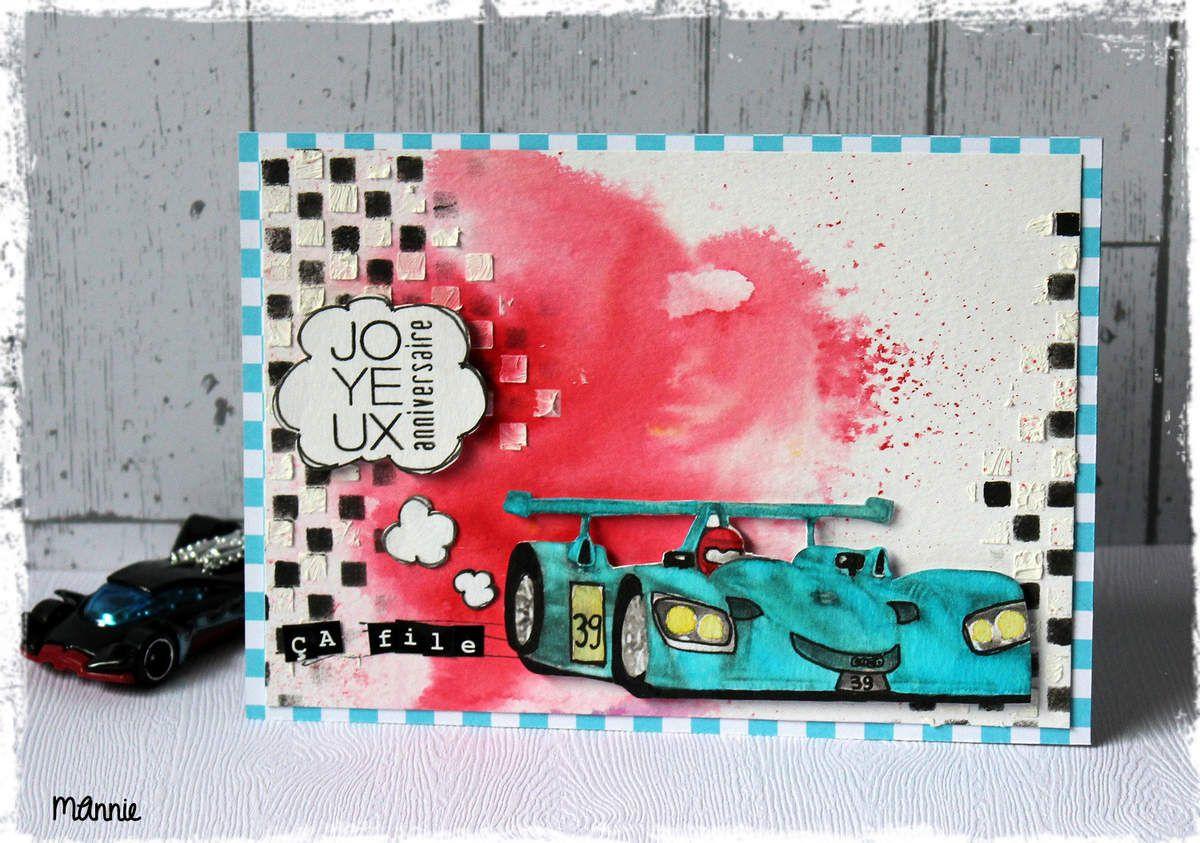 papiers aquarelle, Infocréa &#x3B; brusho scarlet &#x3B; pochoir Dylusions Ranger &#x3B; tampon Simply  Graphic &#x3B; alphabet Toga &#x3B; encres Izink, Versafine &#x3B; modeling paste