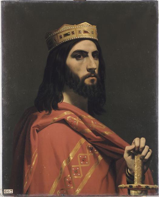 Dagobert Ier, roi d'Austrasie, de Neustrie et de Bourgogne (mort en 639), Portrait imaginaire par Emile Signol