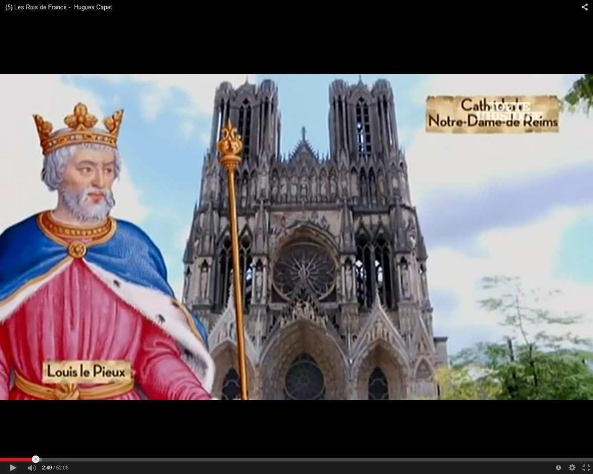 """Louis Ier dit le Pieux (parfois """"le Débonnaire""""), Rois des Francs et Empereur d'Occident est le premier monarque français à être sacré à Reims (816). Louis est un nom qui dérive de la latinisation du nom franc, Clovis [Chlodowig, l''Illustre guerrier"""", c'est la signification du nom de Cholodo-wig. (C. GUENOT, Le Fils aîné de l'Eglise, Epopées de l'histoire de France, Vve H. Casterman, Tournai 1883, p. 15.)]"""
