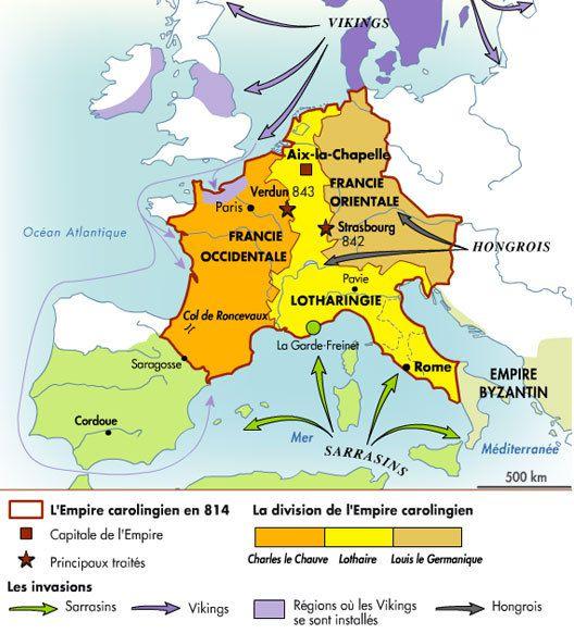 Traité de Verdun (843), partage de l'état franc entre les trois fils survivants de Louis le Pieux, petits-fils de Charlemagne. Charles II le Chauve reçoit la Francia occidentalis, Francie occidentale (France), Lothaire la Francia media, France médiane (Frise, Lotharingie, Bourgogne, Provence, Lombardie) et le titre impérial, Louis le germanique la Francia orientalis, Francie orientale (Germanie: Saxe, Austrasie, Thuringie, Alémanie, Bavière). Le traité fut un compromis qui affaiblissait considérablement la portée de l'idée impériale. L'identité qui avait existé sous Charlemagne et Louis le Pieux entre l'Empire et l'État franc disparaissait. L'unité impériale ne subsistait plus qu'en théorie &#x3B; son universalité cessait de correspondre à la réalité puisque l'empereur ne gouvernait plus en fait que le tiers de la chrétienté occidentale.