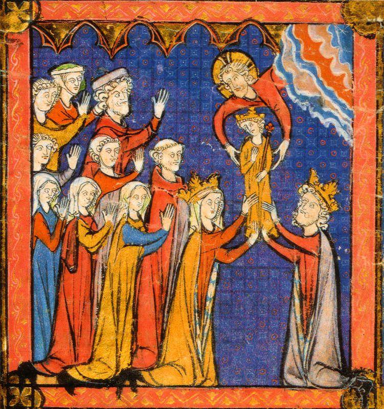 Philippe Dieudonné offert par le Ciel à ses parents (Grandes Chroniques de France, v.1270), Paris, Bibliothèque Sainte-Geneviève.