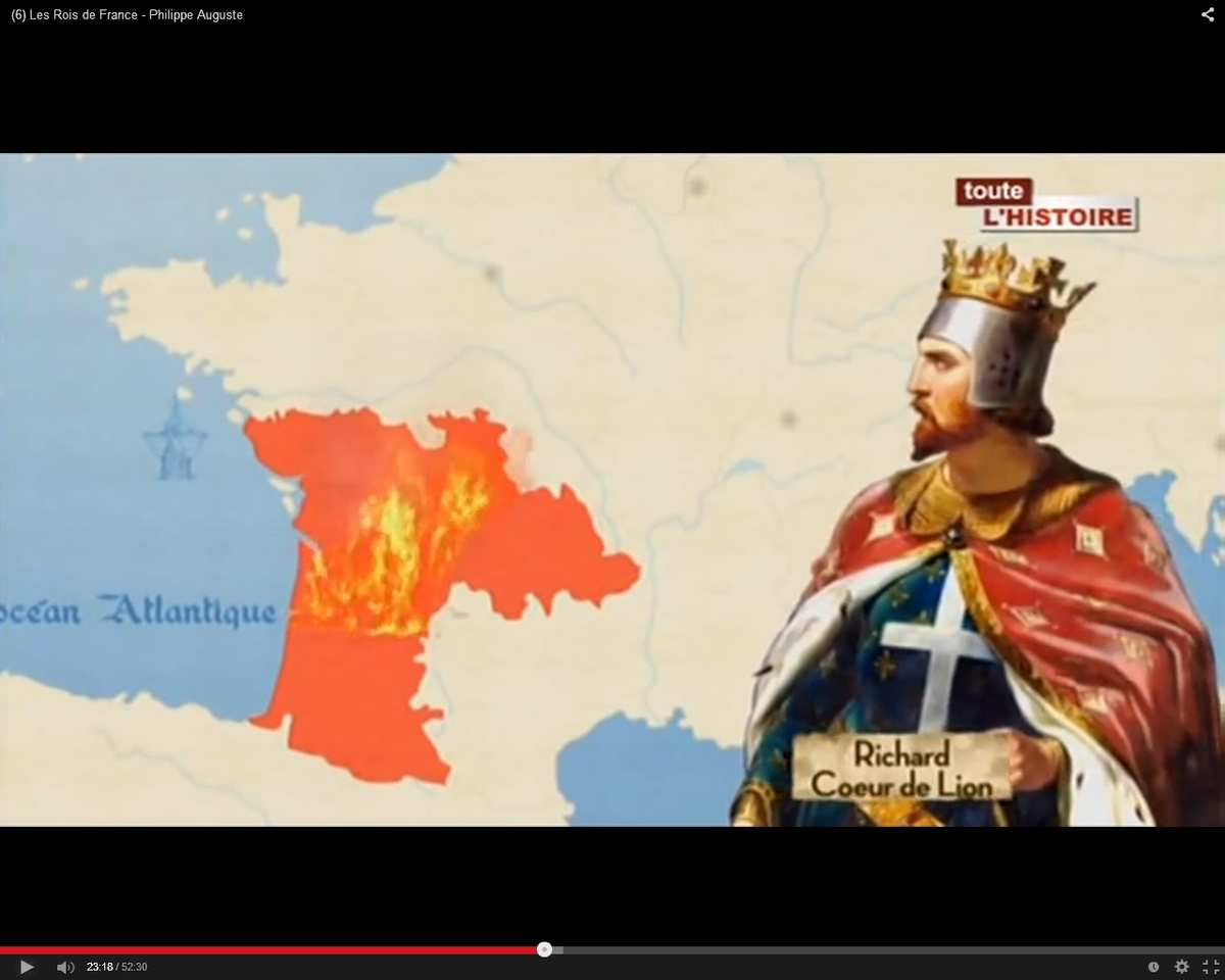 """Richard pacifie l'Aquitaine (1173). Il y gagne le surnom de """"Coeur de Lion"""""""