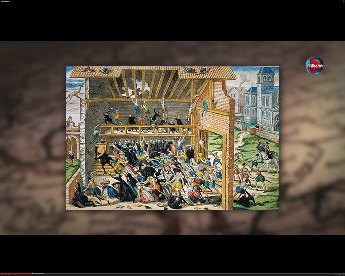"""""""Massacre de Vassy"""" (1er mars 1562) par des soldats du duc de Guise, contre 200 Huguenots qui célèbraient le culte dans une grange. """"Or, il (le massacre de Vassy) fut précédé de massacres de catholiques et d'excès de toutes sortes commis sur plusieurs points du territoires par les huguenots. Excitées par """"les appels sauvages"""" de leurs pamphlétaires, les passions protestantes 'faisaient rage dès 1560.' Dans les provinces du Midi surtout, il y avait des prêches en armes, des pillages, saccagements d'églises, des courses, des combats entre les bandes huguenotes et les troupes royales. … En 1561, les huguenots avaient saccagé l'église saint-Médard et plusieurs autres. Dans un certain nombre de villes du Languedoc, ils s'étaient emparés à main armée de plusieurs églises : à Montauban, Béziers, Castres, Nîmes, ils avaient interdit tout culte catholique, arraché les religieuses de leurs couvents et forcé ces innocentes victimes à assister aux prêches&#x3B; à Montauban, il y avaient poussé le peuple à coups de fouet et de nerfs de bœufs. Ceux qui avaient essayé de résister avaient été mis en prison et fouettés jusqu'au sang&#x3B; plusieurs mêmes avaient expiré sous les coups. Le 20 octobre 1561, à Montpellier, les huguenots avaient pris les armes, s'étaient rués à l'improviste sur les catholiques, avaient tué, avec le gardien des Cordeliers, près de quarante personnes et pillé plus de soixante églises ou chapelles…"""" [Source: Jean Guiraud, Histoire partiale histoire vraie, tome I Des origines à Jeanne d'Arc, neuvième édition, Gabriel Beauchesne & Cie Editeurs, Paris 1911, p. 70-71.] .... """"Il n'y eut pas à Vassy un massacre de protestants&#x3B; mais […] une bagarre sanglante, une échauffourrée où il y eut des morts des deux côtés, Guise lui-même étant blessé par les protestants."""" [ibid. p. 403.]  … Les guerres de religion étaient déjà commencées avant le massacre de Vassy. …On vit des bandes ou plus exactement de vraies armées protestantes organisées, dès 1559, 1560, 1561, c'"""