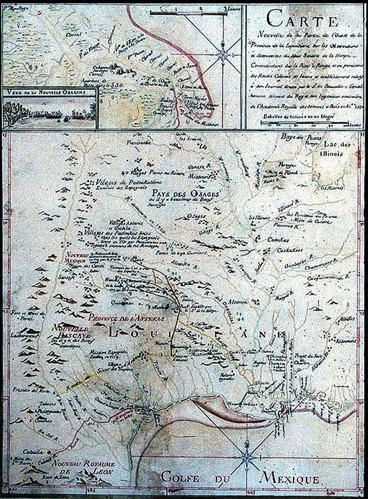 Carte nouvelle de la partie de l'ouest de la Province de la Louisiane sur les observations et decouvertes du Sieur Benard de la Harpe