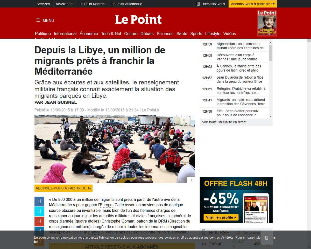 Depuis la Libye, un million de migrants prêts à franchir la Méditerranée, Le Point, 13 septembre 2015 http://www.lepoint.fr/editos-du-point/jean-guisnel/depuis-la-libye-un-million-de-migrants-prets-a-franchir-la-mediterranee-13-09-2015-1964400_53.php