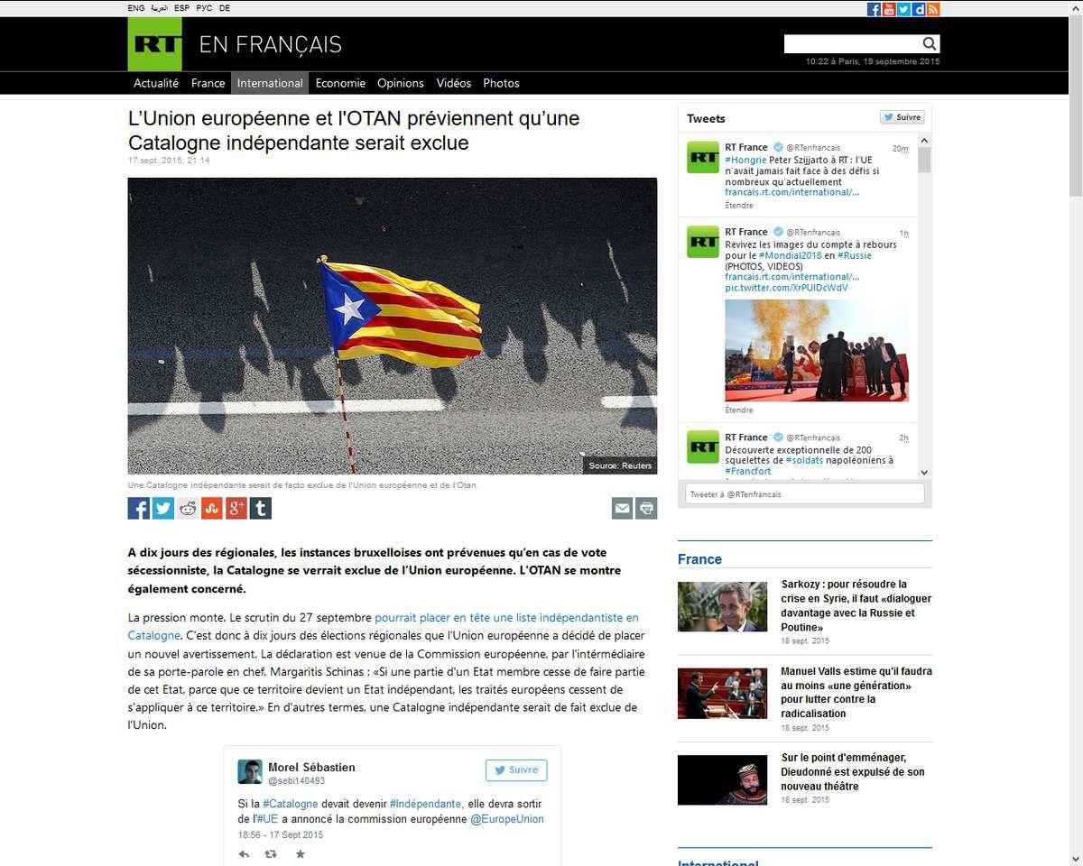 Sarkozy intervient contre la sécession de la Catalogne