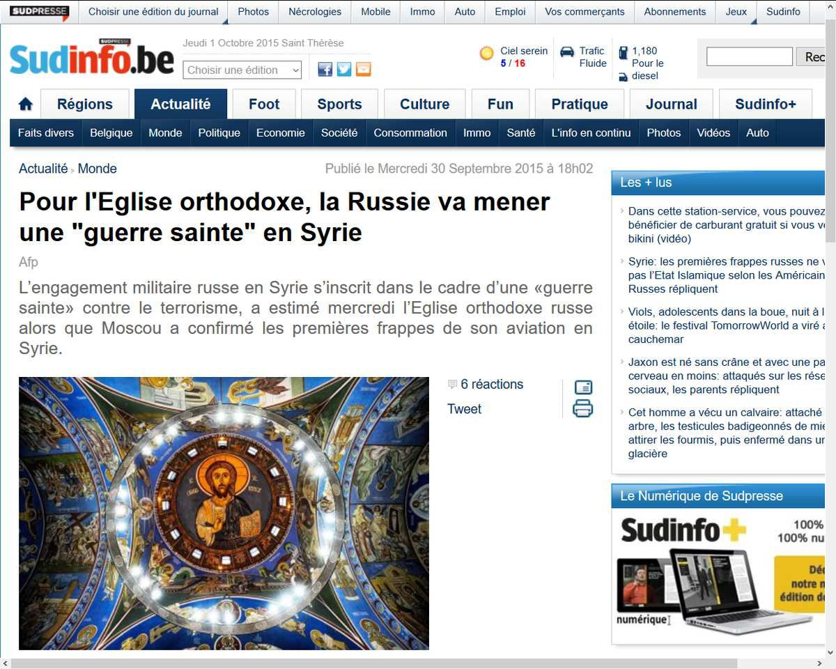 Pour l'Eglise orthodoxe russe, la Russie mène une &quot&#x3B;guerre sainte&quot&#x3B; en Syrie