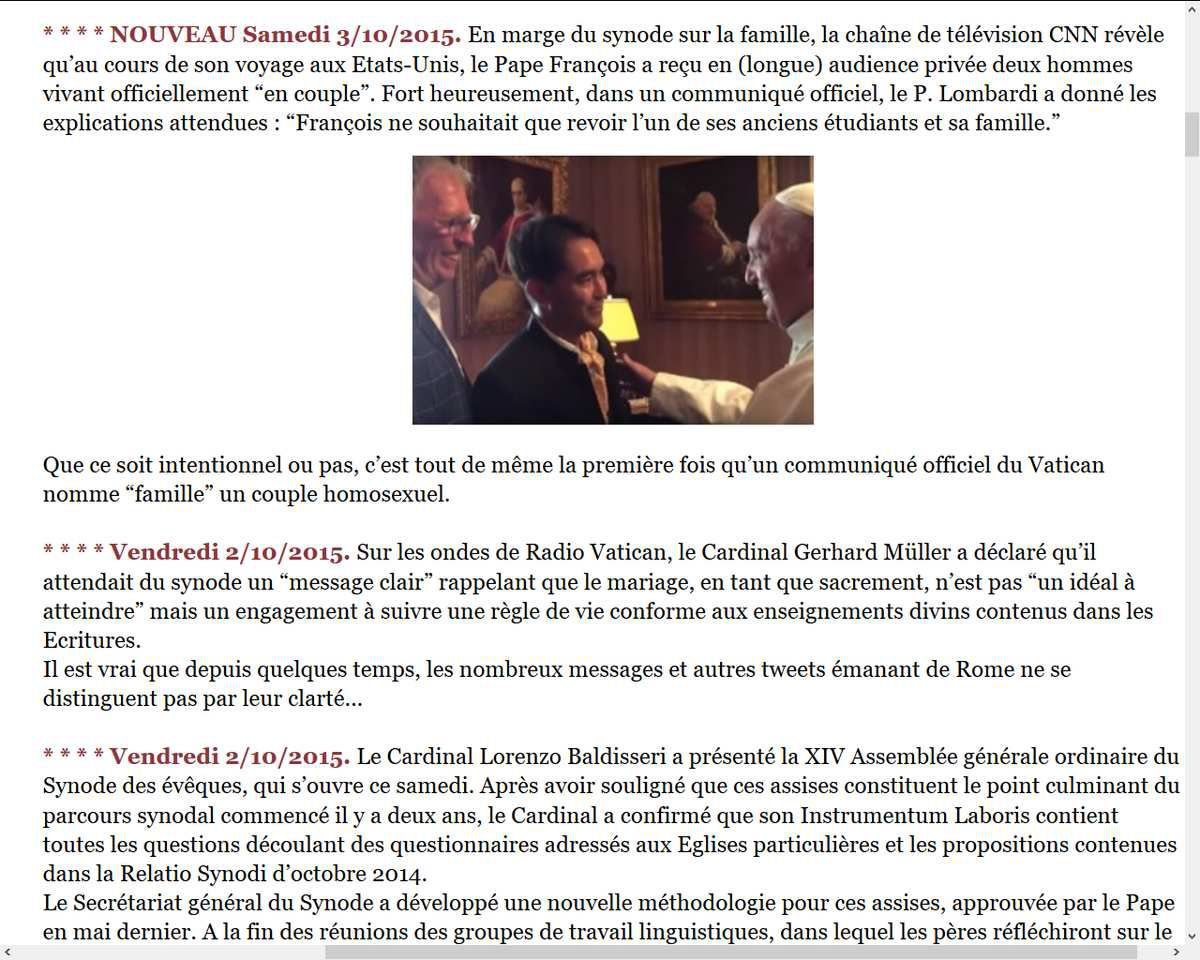 Premier communiqué officiel du Vatican nommant &quot&#x3B;famille&quot&#x3B; un duo homosexuel