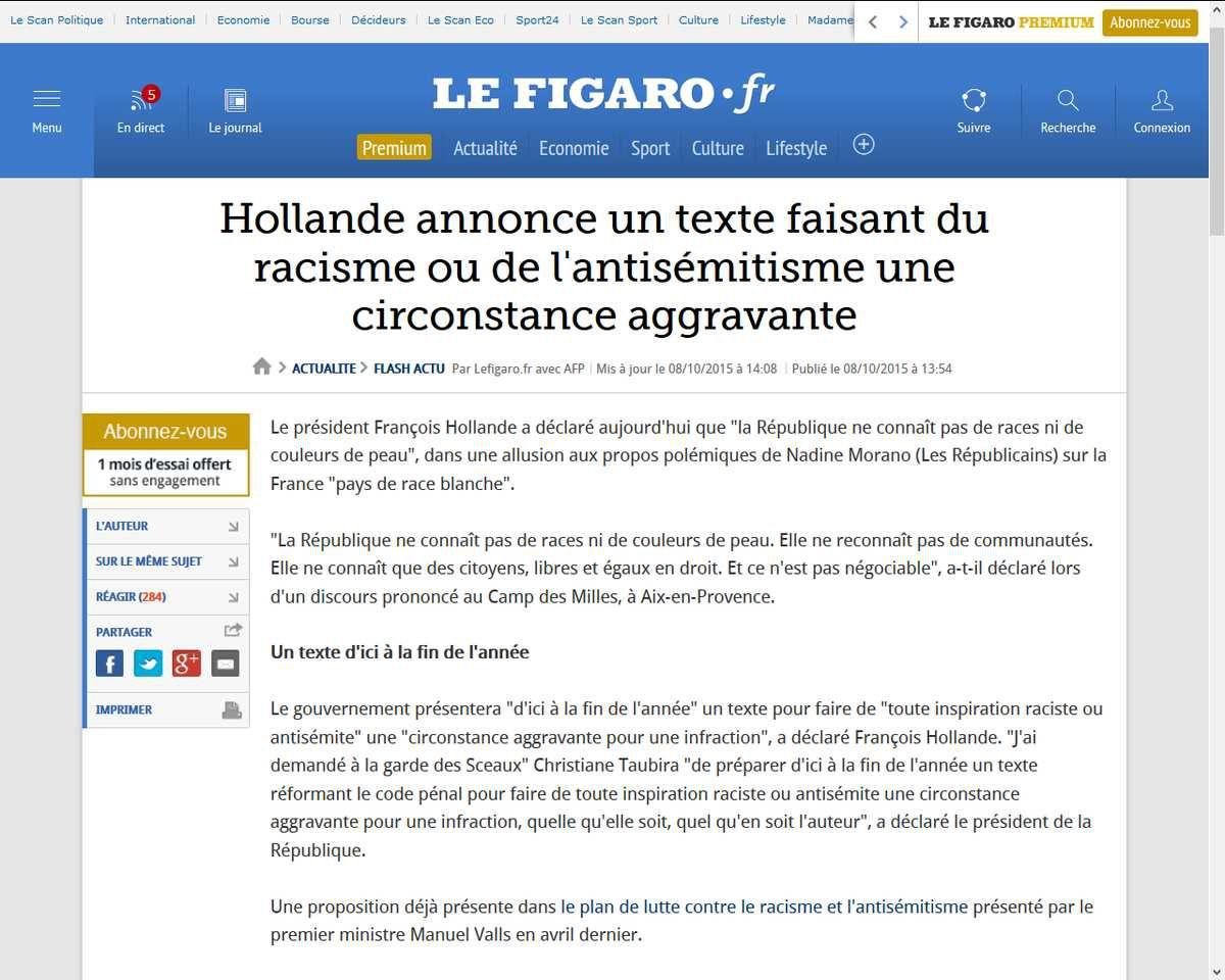 http://www.lefigaro.fr/flash-actu/2015/10/08/97001-20151008FILWWW00143-hollande-la-republique-ne-connait-pas-de-races-ni-de-couleurs-de-peau.php