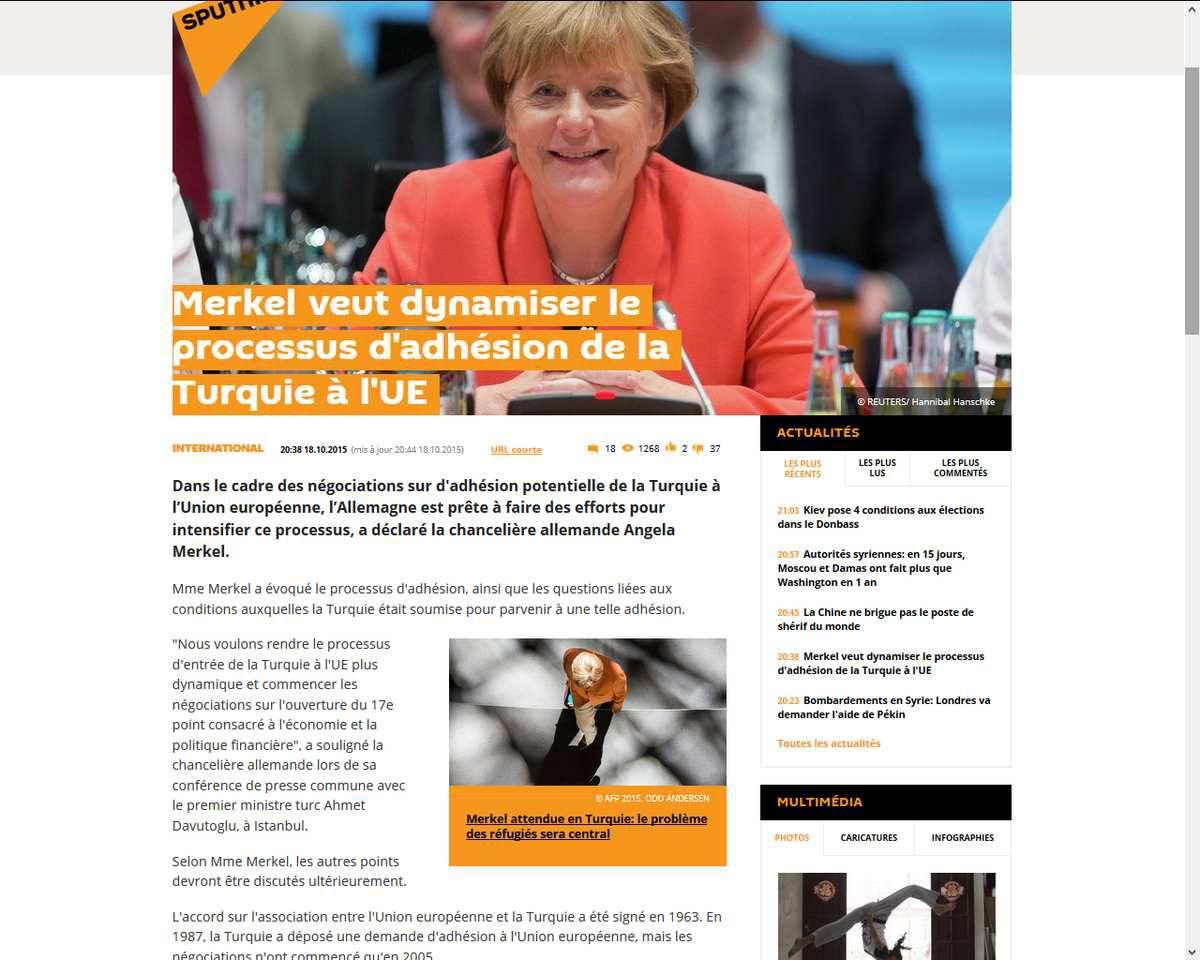 Hybris allemande : Merkel veut dynamiser le processus d'adhésion de la Turquie à l'UE
