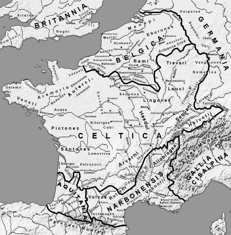 La Celtica, à la fin du Ier siècle av. J.-C., après la conquête romaine, avec la mention des diverses peuplades gauloises