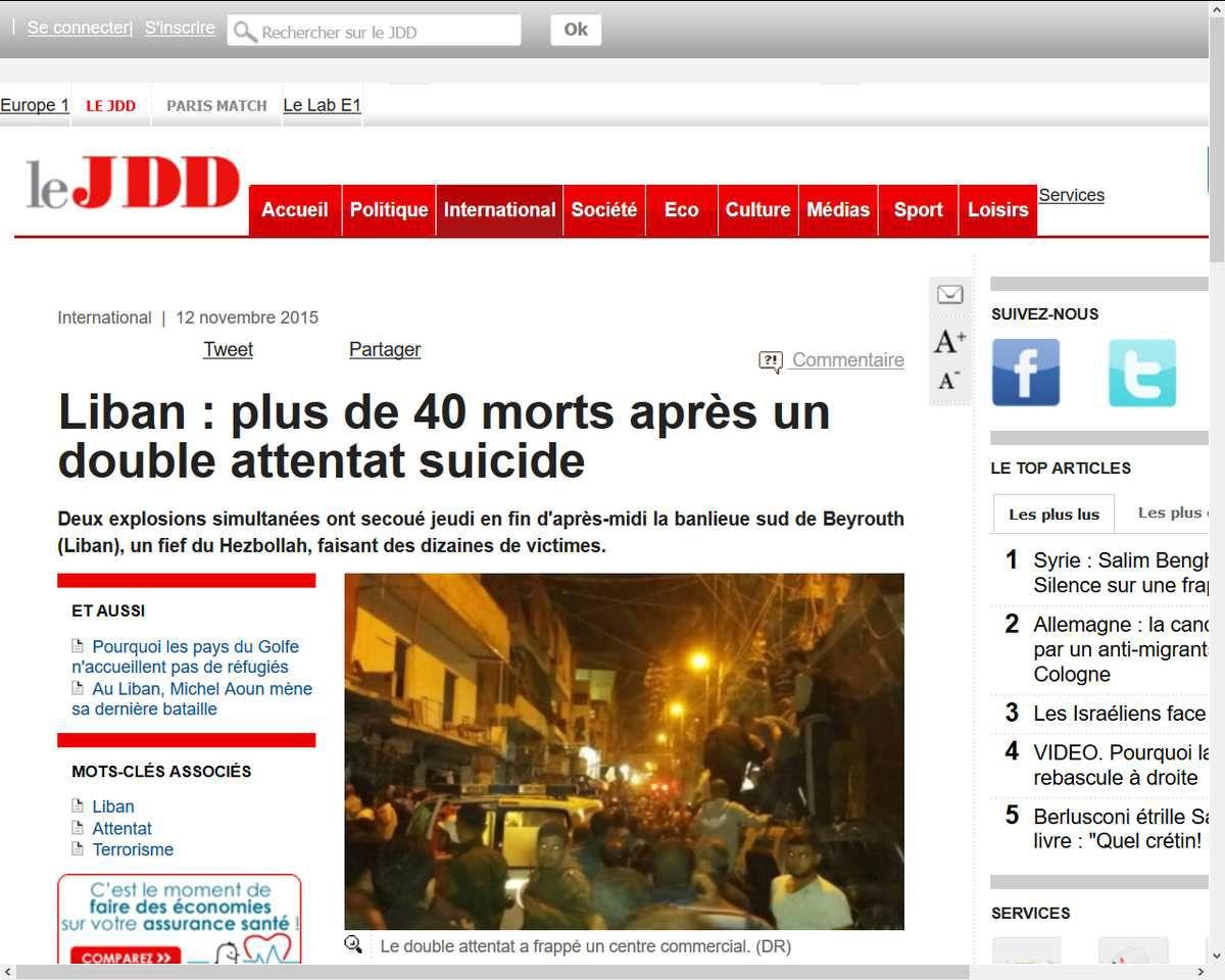 Liban : plus de 40 morts après un double attentat suicide des amis de Fabius en Syrie