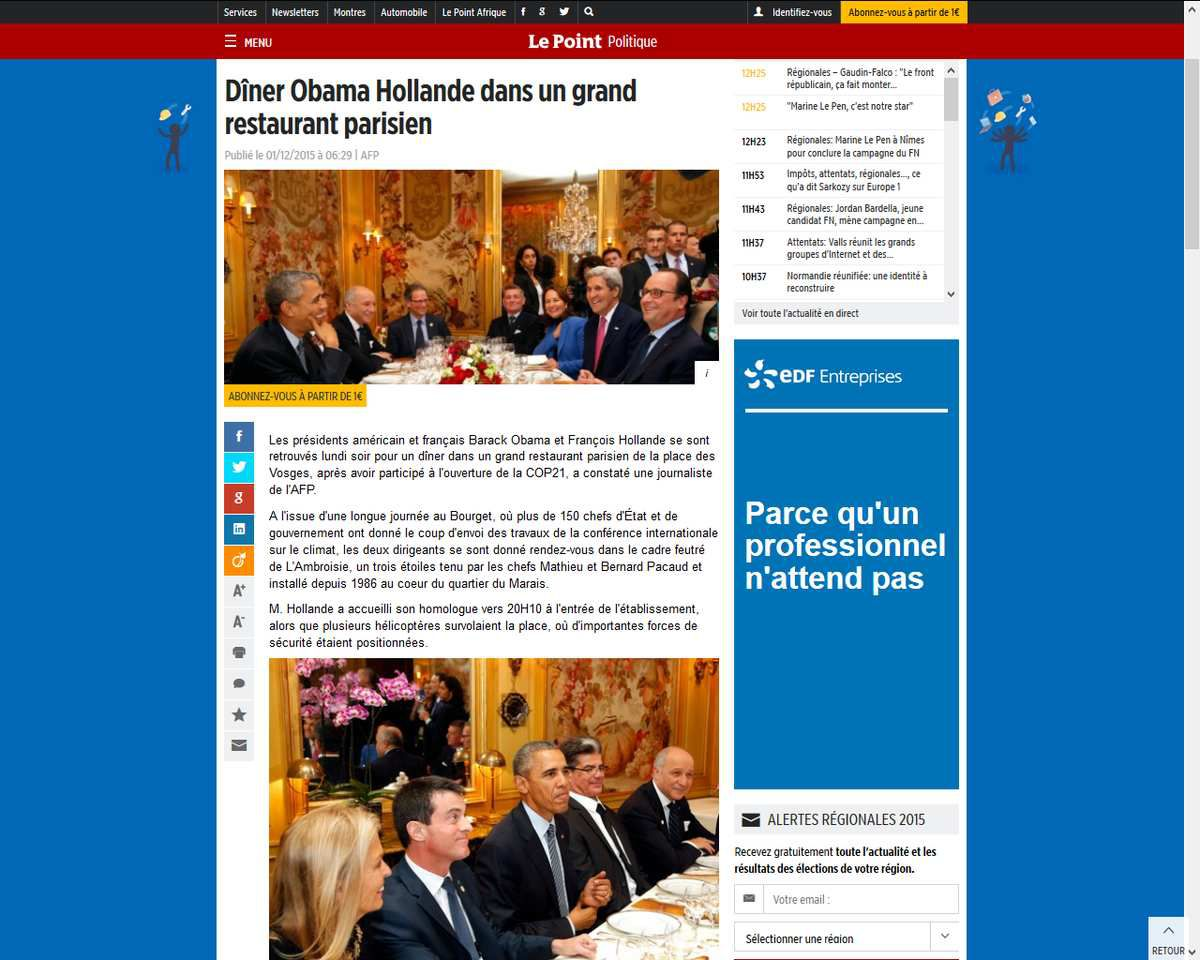 Source: http://www.lepoint.fr/politique/diner-obama-hollande-dans-un-grand-restaurant-parisien-01-12-2015-1986129_20.php