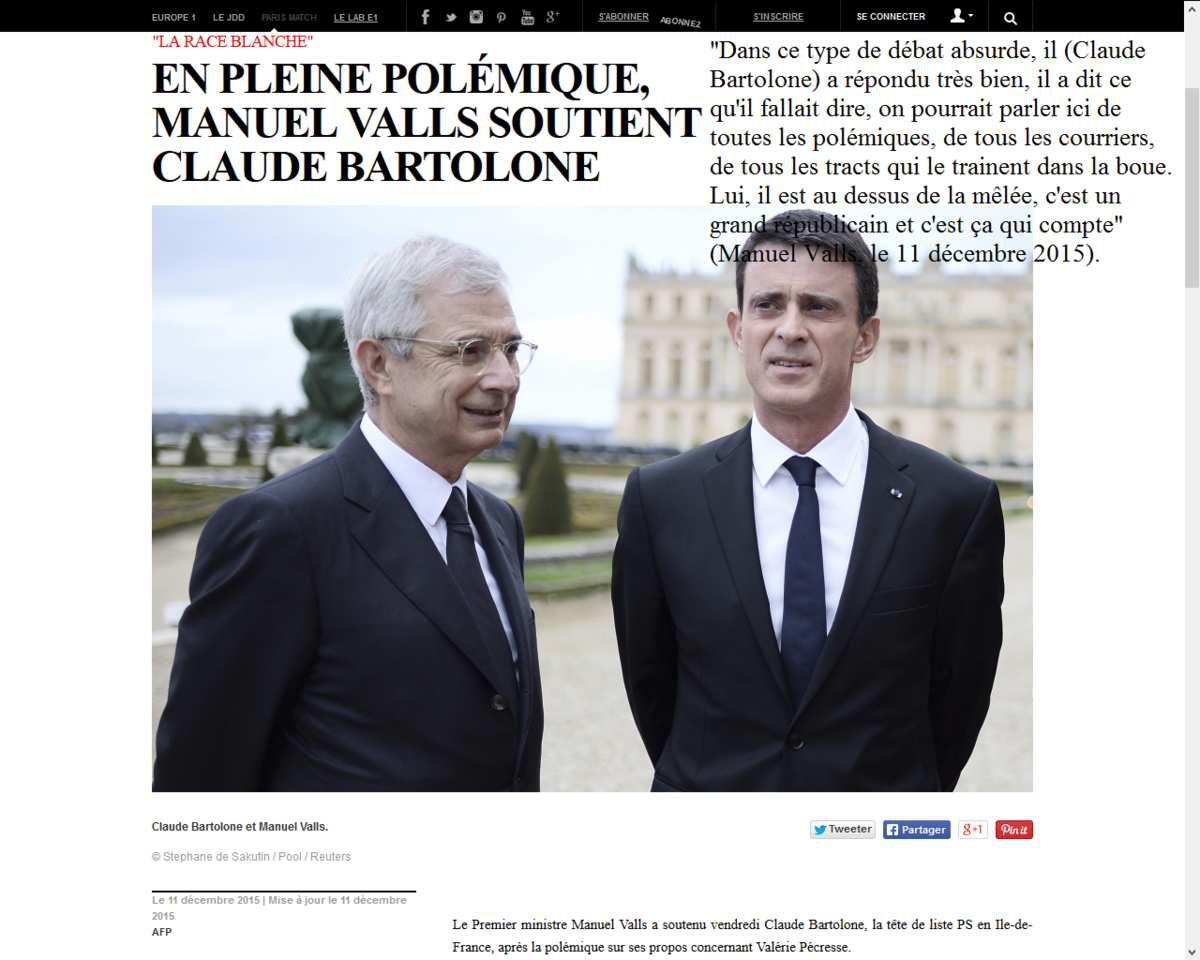 &quot&#x3B;Race blanche&quot&#x3B; : Claude Bartolone racialise la fin de campagne des Régionales 2015