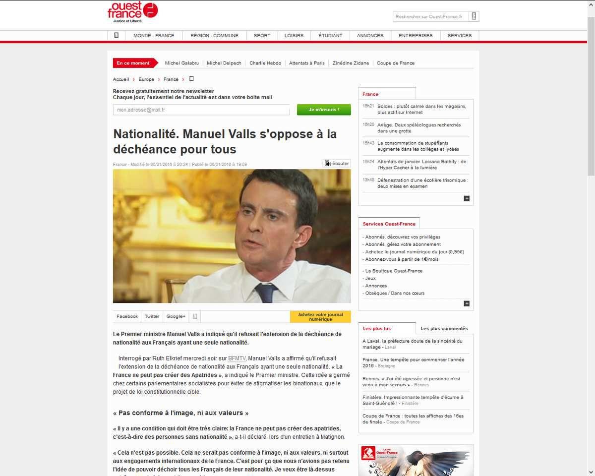 Nationalité. Manuel Valls s'oppose à la déchéance pour tous