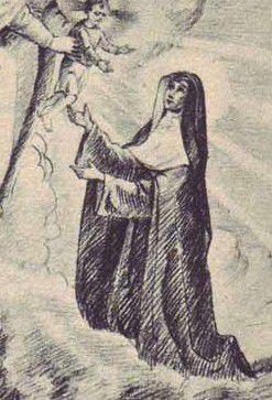 Extrait d'une gravure représentant Alix Le Clerc à genoux devant la Vierge et l'Enfant Jésus