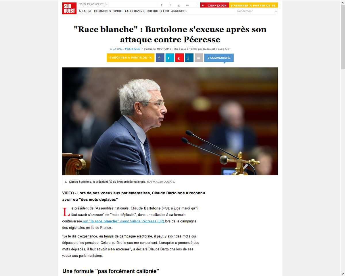 &quot&#x3B;Race blanche&quot&#x3B; : Bartolone s'excuse