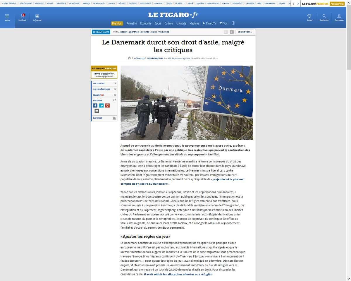 Le Danemark durcit son droit d'asile