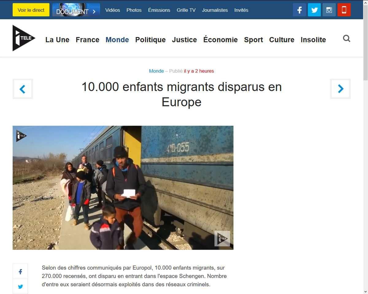 &quot&#x3B;Liberté de circulation&quot&#x3B;: 10.000 enfants migrants disparus en Europe exploités dans des réseaux criminels