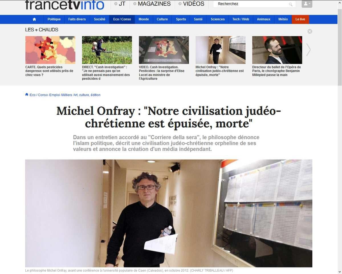 Michel Onfray : &quot&#x3B;Notre civilisation judéo-chrétienne est épuisée, morte&quot&#x3B;