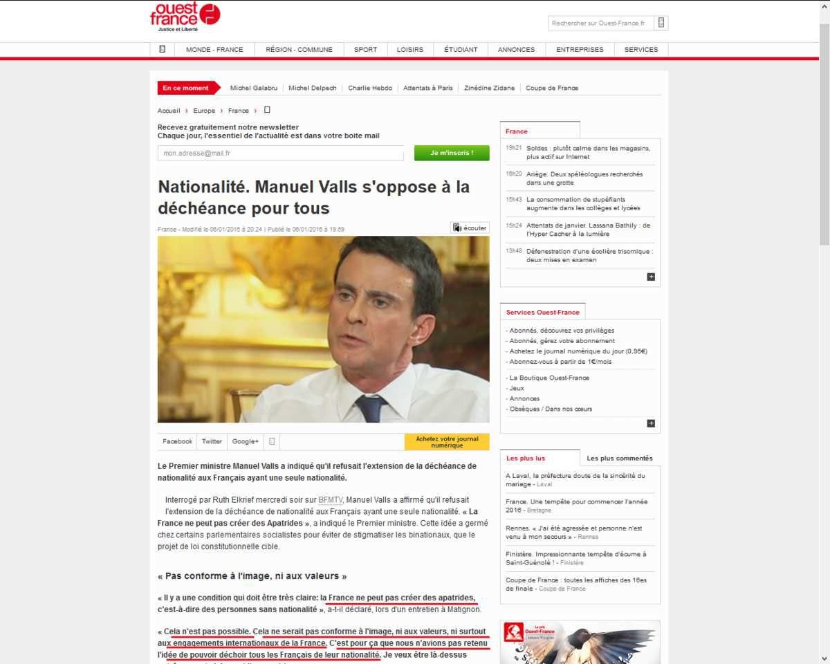 Le 6 janvier Manuel Valls s'oppose à la déchéance pour tous,... un mois après il l'approuve