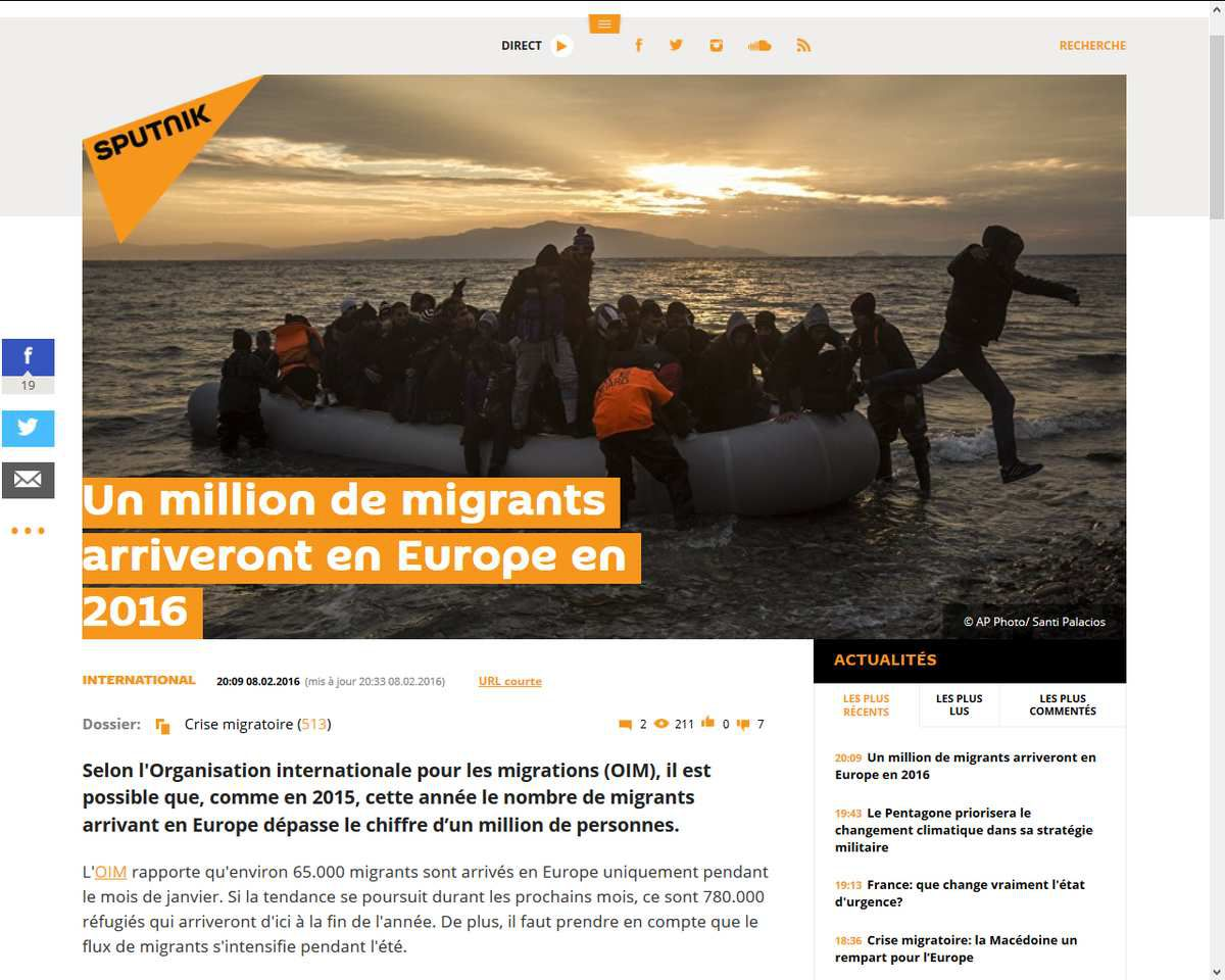 Un autre million de migrants possible en 2016