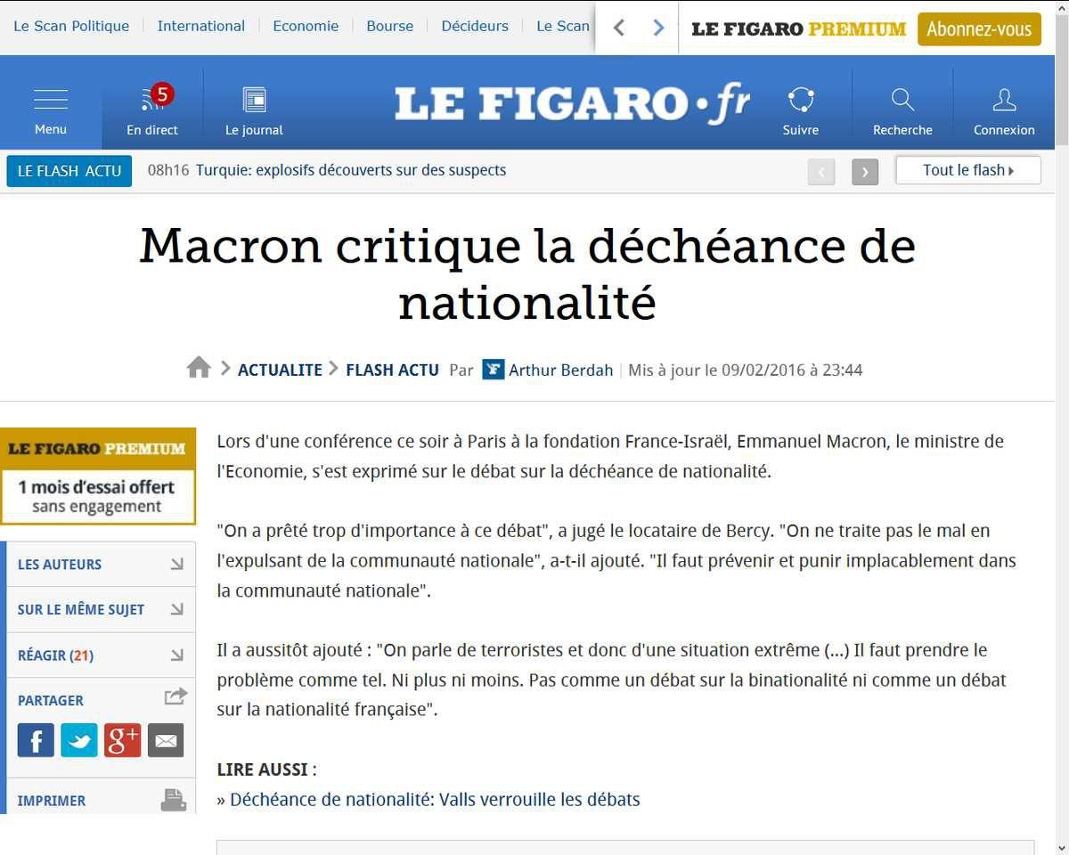 Macron critique la déchéance de nationalité