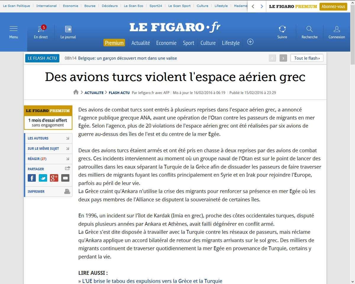 Des avions turcs violent l'espace aérien grec