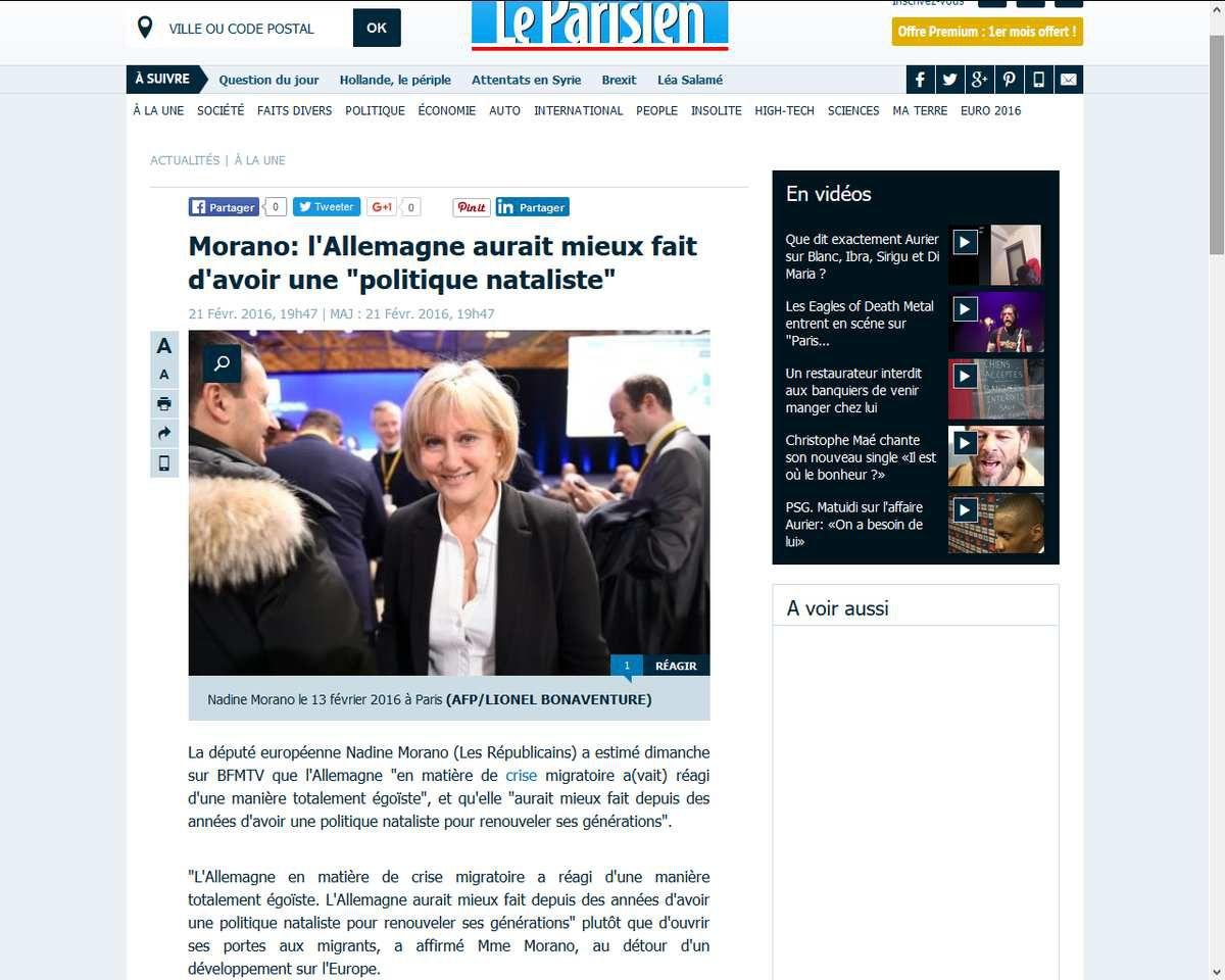 Migrants: l'Allemagne aurait mieux fait d'avoir une &quot&#x3B;politique nataliste&quot&#x3B; (Nadine Morano)