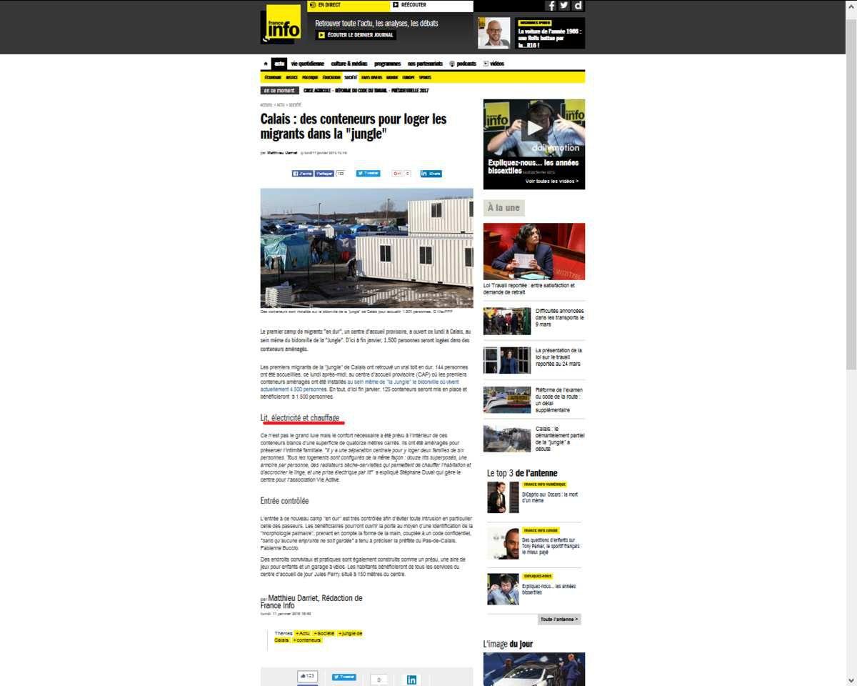 Calais: des migrants &quot&#x3B;contraints&quot&#x3B; d'aménager dans des containers &quot&#x3B;mis en place juste à côté&quot&#x3B;