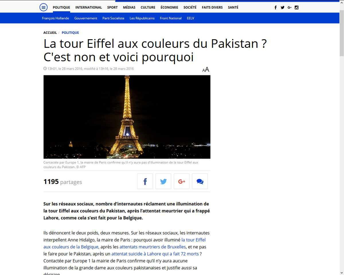 La Mairie de Paris refuse d'illuminer la Tour Eiffel pour le Pakistan comme pour la Belgique