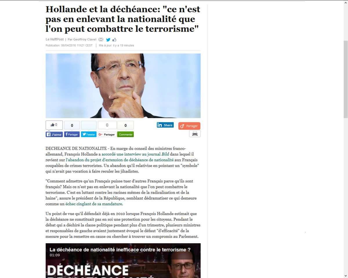 Hollande César en Gaule subitement éclairé: &quot&#x3B;ce n'est pas en enlevant la nationalité que l'on peut combattre le terrorisme&quot&#x3B;