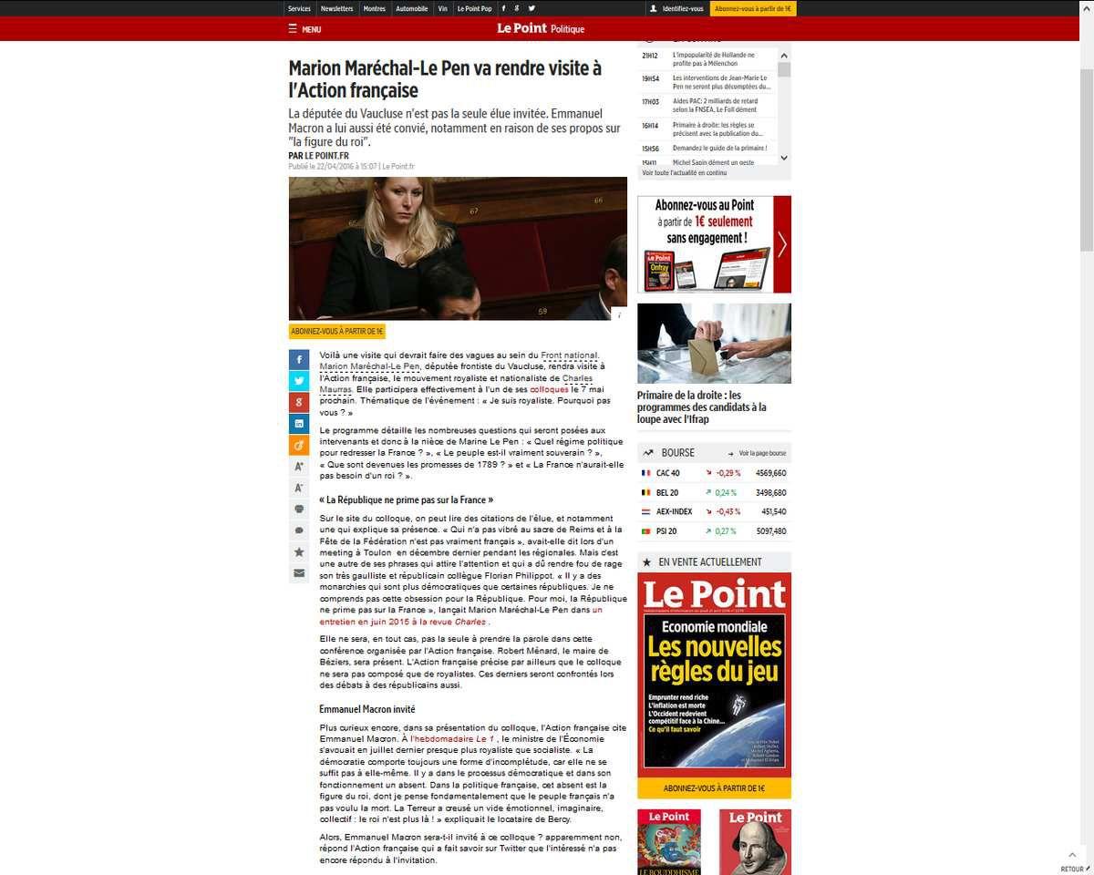 Robert Ménard et Marion Maréchal-Le Pen à un colloque de l'Action française le 7 mai