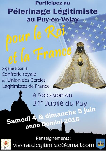 Pélerinage légitimiste à Notre-Dame du Puy-en-Velay les 4 et 5 juin 2016