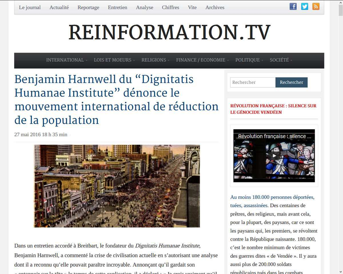"Benjamin Harnwell du ""Dignitatis Humanae Institute"" dénonce le mouvement international de réduction de la population"
