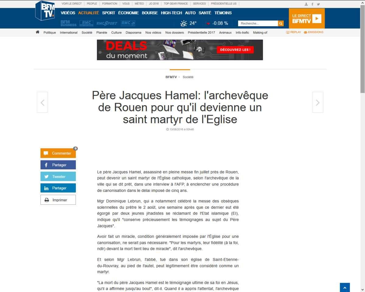 Père Jacques Hamel: l'archevêque de Rouen pour qu'il devienne un saint martyr de l'Eglise
