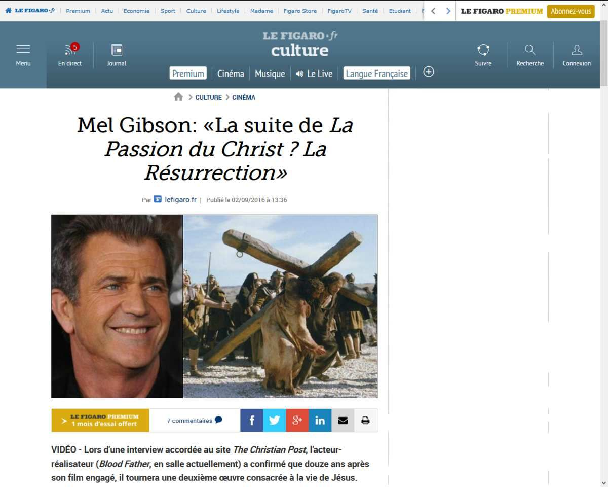 Mel Gibson: &quot&#x3B;La suite de La Passion du Christ ? La Résurrection&quot&#x3B;