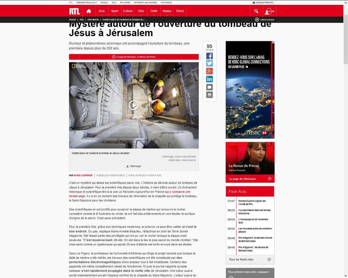 Saint Sépulcre : phénomènes anormaux à l'ouverture du tombeau de Jésus