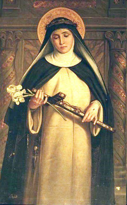 Sainte Catherine de Sienne portant sur son voile la couronne d'épines, tenant un crucifix et une fleur de lys