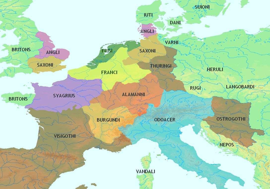 L'Europe centrale au Ve siècle. Les Saxons sont localisés sur les deux zones ocre jaune : au Nord de l'Allemagne et sud de l'Angleterre.
