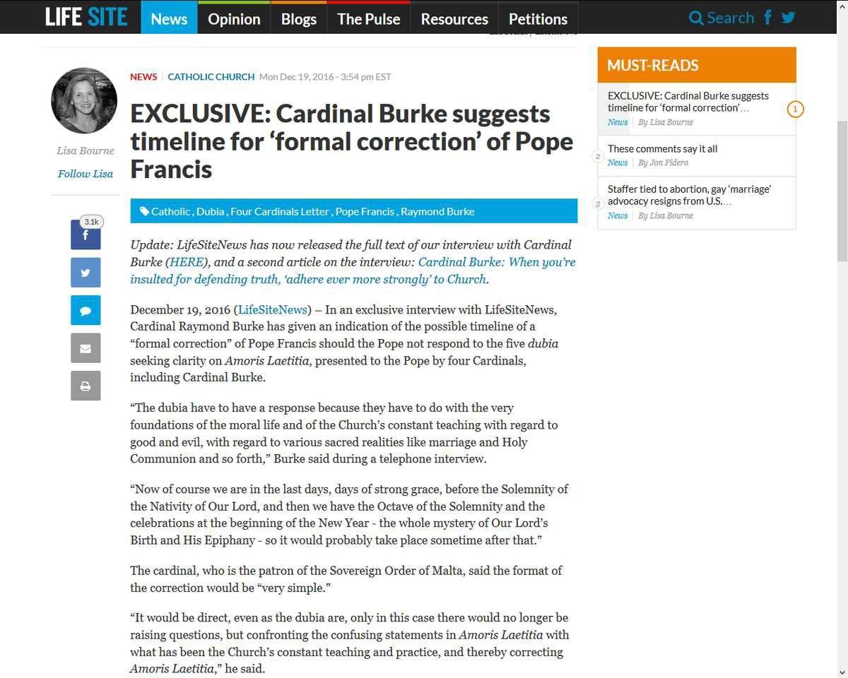 Le cardinal Burke suggère une «correction formelle» du pape François en 2017