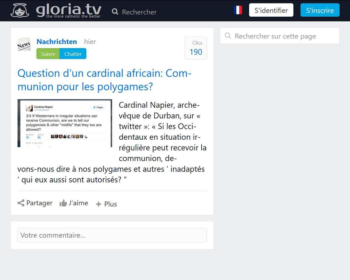 Cardinal Napier : Communion pour les polygames ?