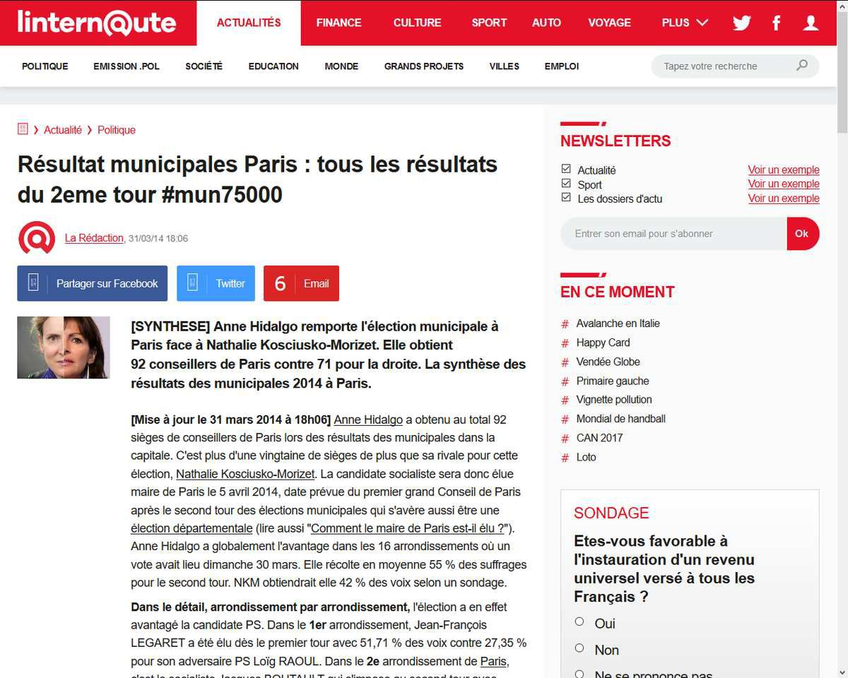 NKM perd l'élection municipale à Paris en 2014