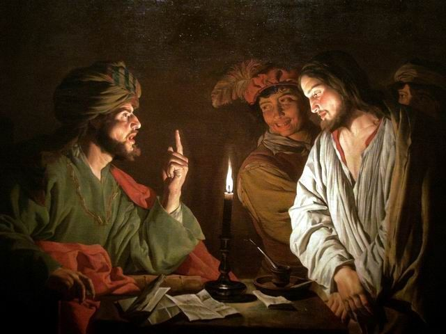 Christ devant Caïphe (de Matthias Stom)