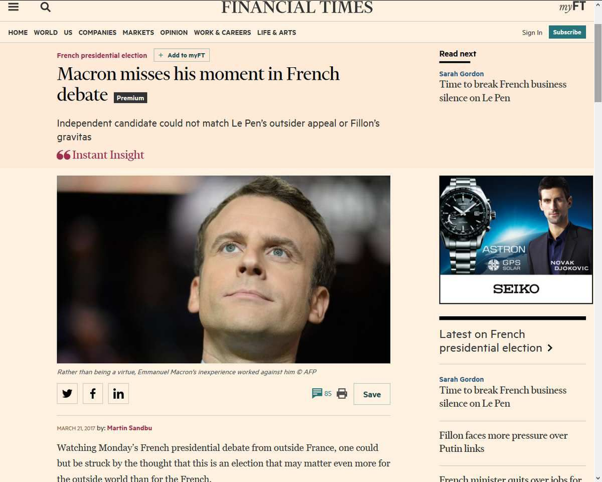"""Macron misses his moment"", Macron a raté sa prestation. Financiel Times (21 mars 2017). ""Résultats de l'élection américaine 2016: Le New York Times et le Washington Post s'excusent après la victoire de Donald Trump.""Source : http://www.huffingtonpost.fr/2016/11/09/resultats-de-lelection-americaine-2016-le-new-york-times-et-le/ . Aux Etats-Unis, les grands médias sans doute échaudés devant l'élection de Donald Trump alors qu'ils avaient tout fait pour faire élire Hillary Clinton, deviennent plus neutres dans leur traitement de l'information.... On attend la même chose bientôt en France !"