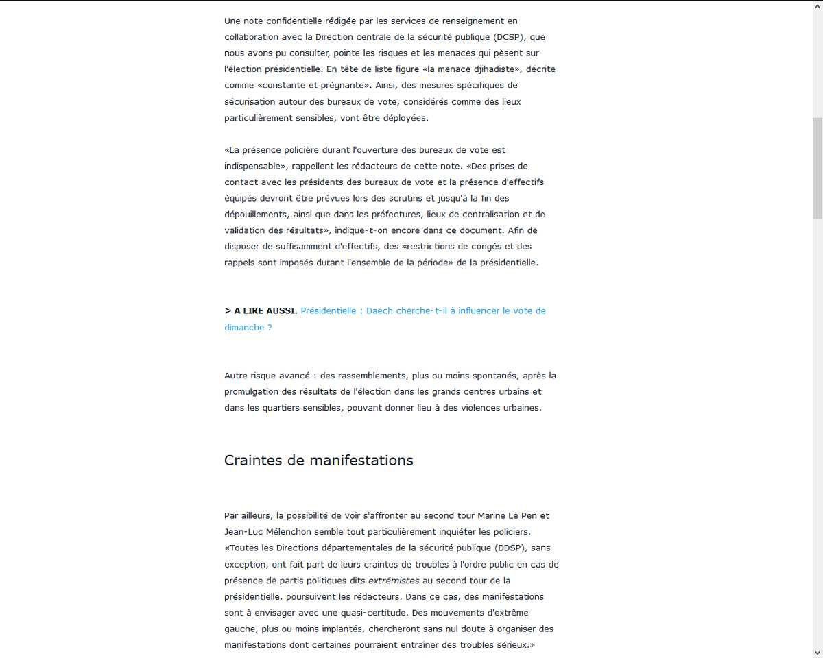 Plan du gouvernement en cas de victoire de Marine Le Pen - Violences urbaines et maintien au pouvoir de Bernard Cazeneuve (Le Parisien, Présidentielle : la note secrète sur les menaces autour du scrutin, 22 avril 2017)