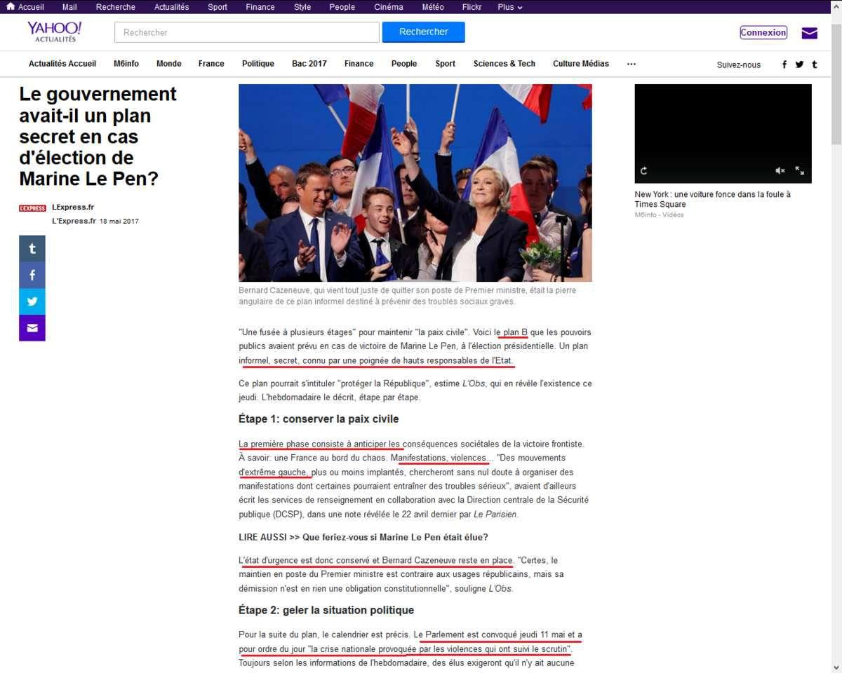 Dictature : le plan de l'oligarchie si Marine Le Pen avait été élue le 7 mai 2017