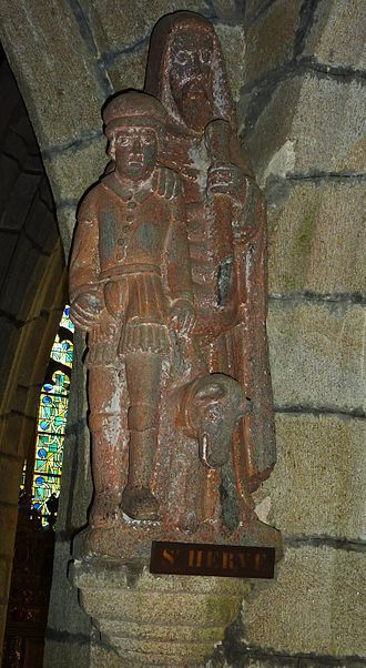 Statue de S. Hervé aveugle, et son loup apprivoisé (Sainte-Marie du Ménez-Hom, Finistère)
