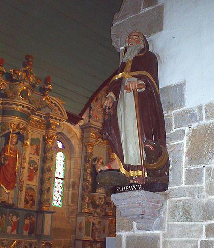 Saint Hervé - statue de S. Hervé dans l'église de Guimiliau