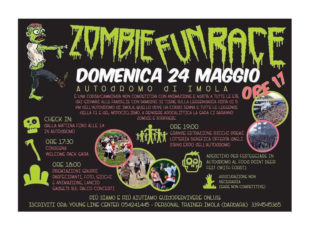 Zombie Fun Race (1^ ed.). Nel contesto dell'Autodromo di Imola, camminata, voglia di stare assieme, solidarietà, il prossimo 24 maggio